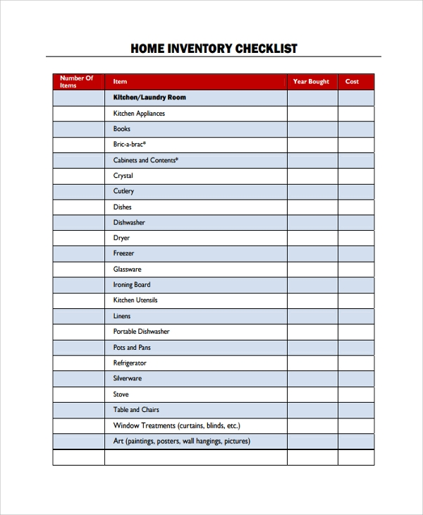 inventory checklist template