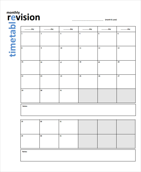 Sample Revision Timetable Template   Free Documents Download In