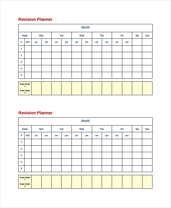 Sample Revision Timetable Template - 9+ Free Documents Download In