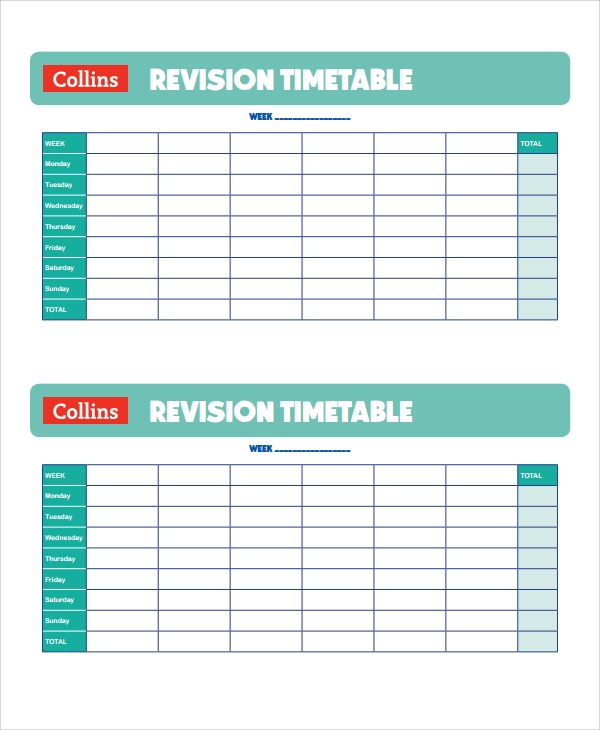 revision timetable template timetable templates sample example format ...