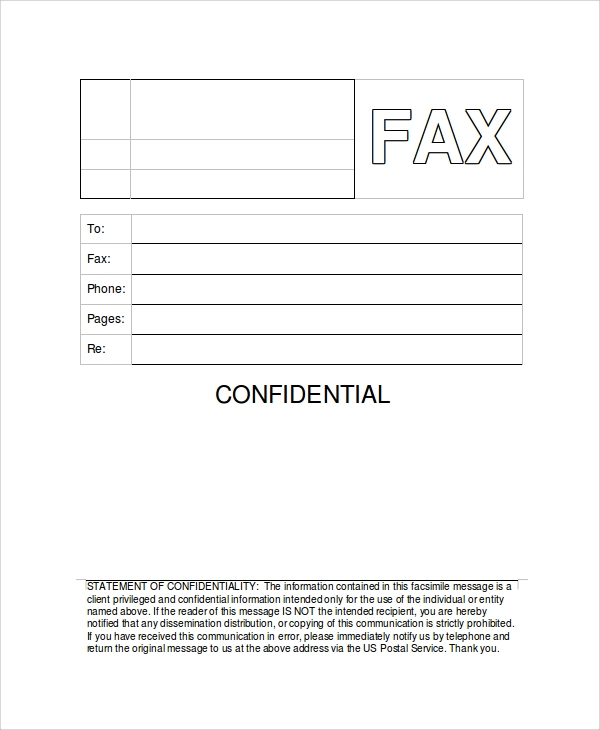 generic confidential fax cover sheet