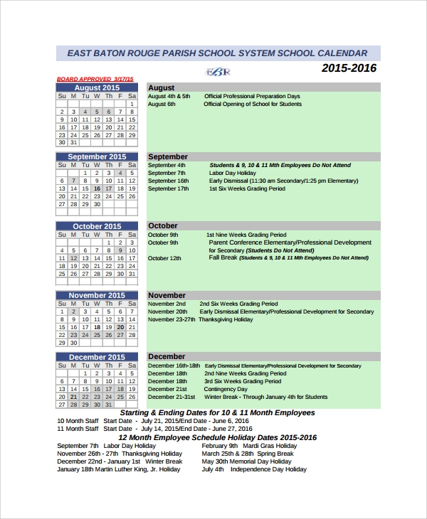 calendar of events timetable template