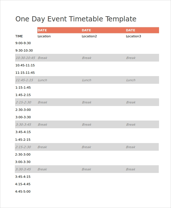 7 event timetable templates sample templates for One day event schedule template