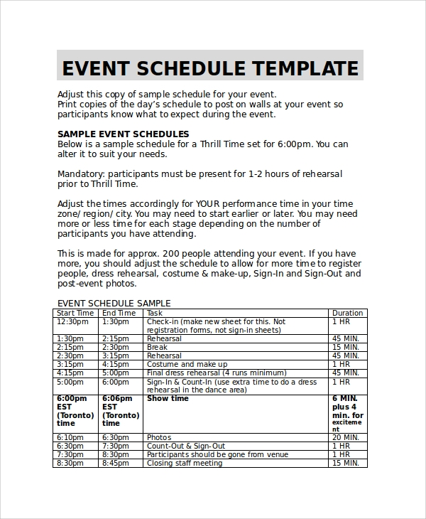 Sample Event Timetable Template   Free Documents Download In
