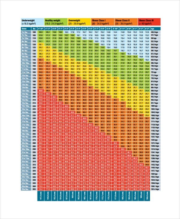 bmi chart weight management