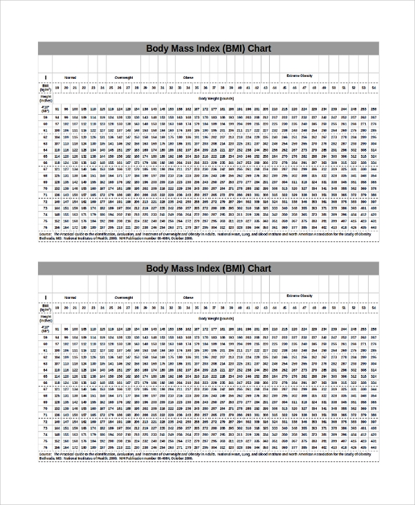 20 Bmi Index Chart Templates Sample Templates