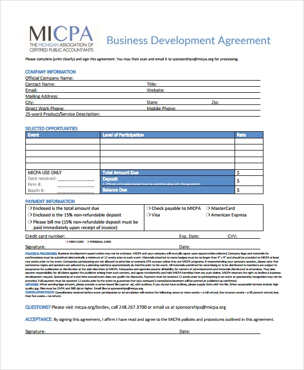 Sample Business Development Agreement Template - 6+ Free Documents