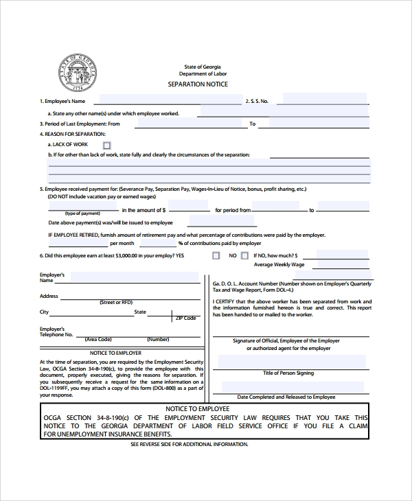 Doc529684 Employment Separation Letter Sample Free – Employment Separation Letter Sample