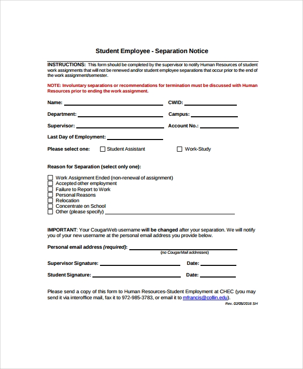 Sample Separation Notice Template   Free Documents Download In