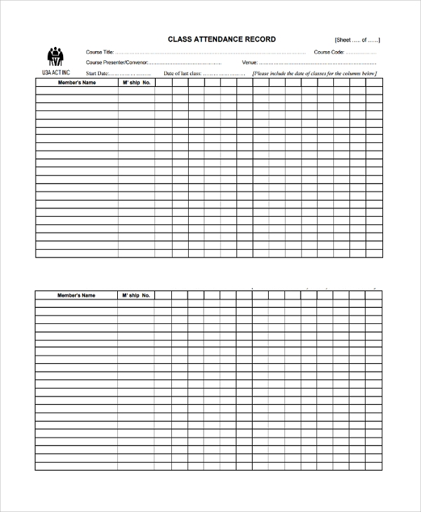Sample Attendance List Template   Free Documents Download In