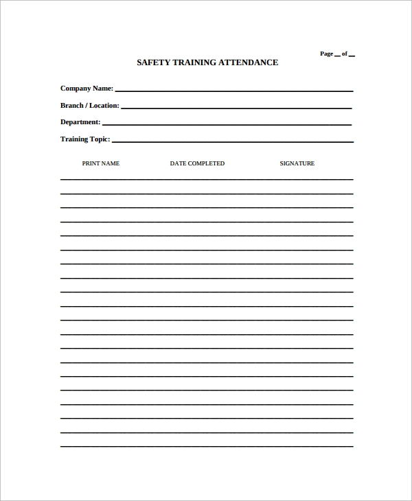 Sample Attendance List Template 9 Free Documents Download in – Attendees List Template