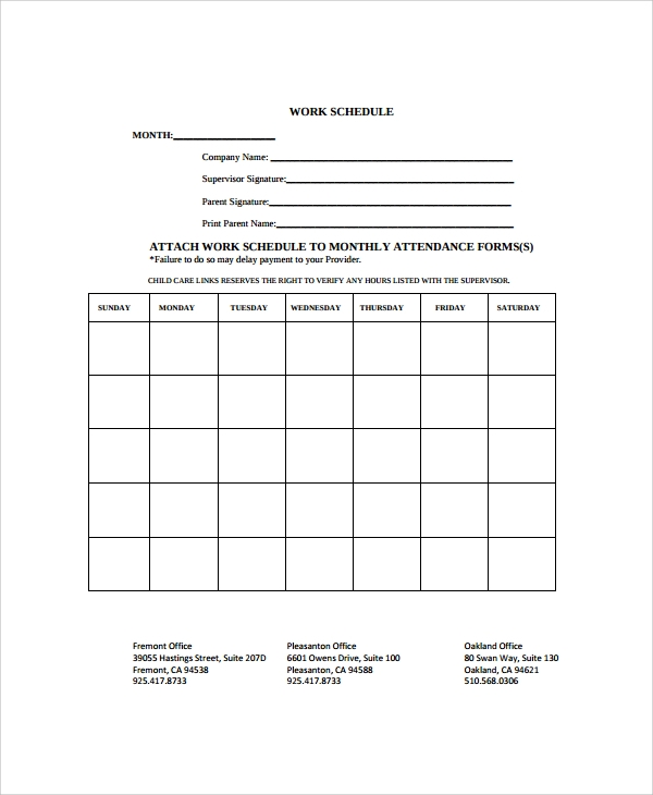 Sample Monthly Work Schedule Template   Free Documents Download
