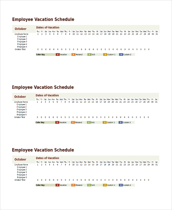 Sample Vacation Schedule Template 9 Free Documents
