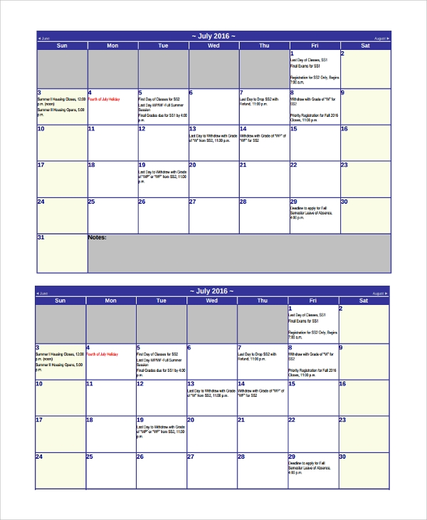 student vacation schedule