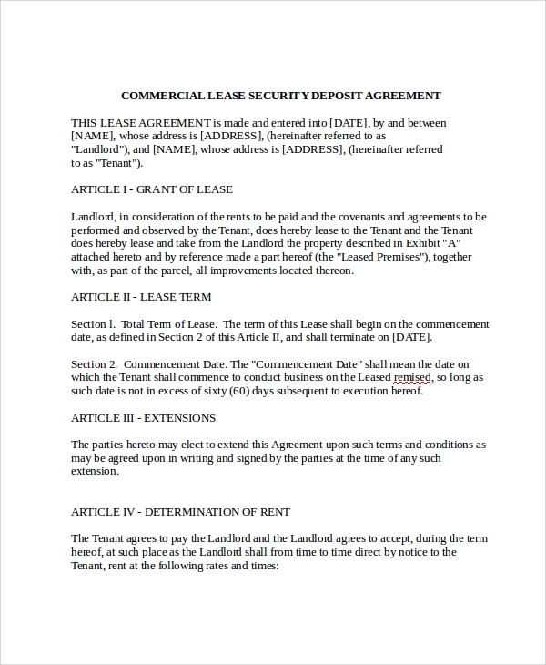 Sample Commercial Security Agreement Template - 8+ Free Documents