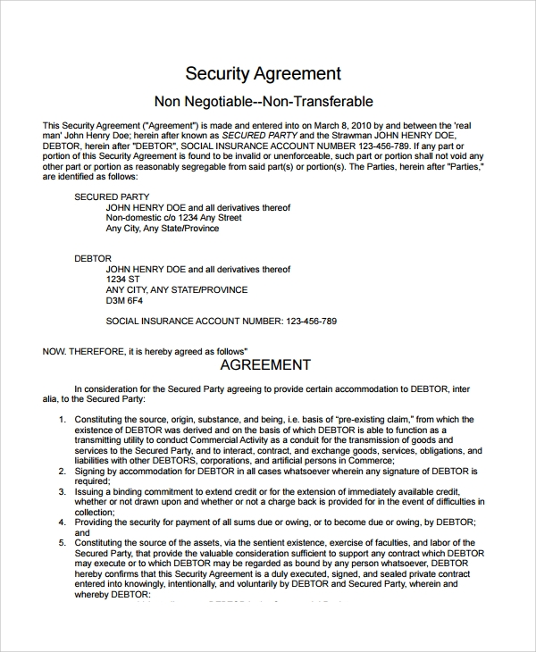 Sample Commercial Security Agreement Template 8 Free Documents