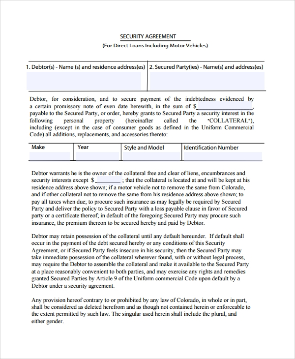 Sample Commercial Security Agreement Template 8 Free Documents – Security Agreement
