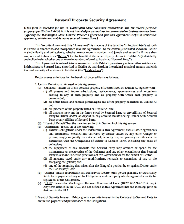 personal property commercial security agreement