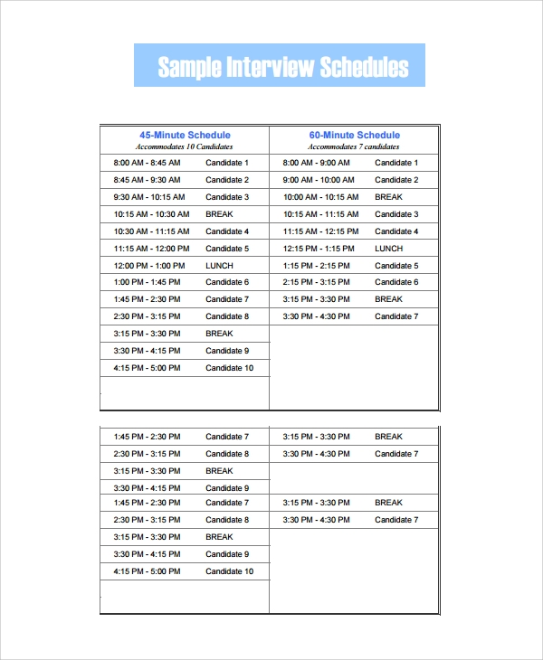 Sample Interview Schedule Template - 7+ Free Documents Download In