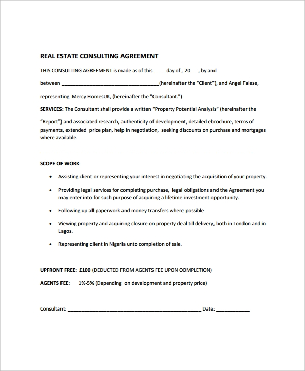 9 real estate consulting agreement templates sample for Consultation contract template