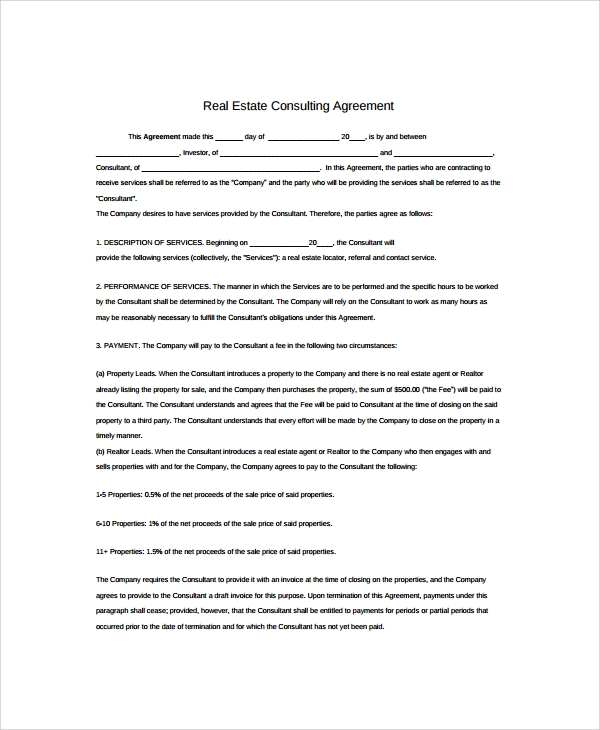 9 real estate consulting agreement templates sample for Consulting fee agreement template