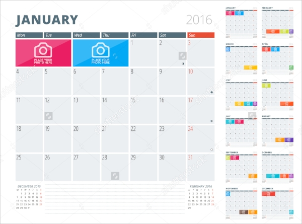 colorful photo calendar