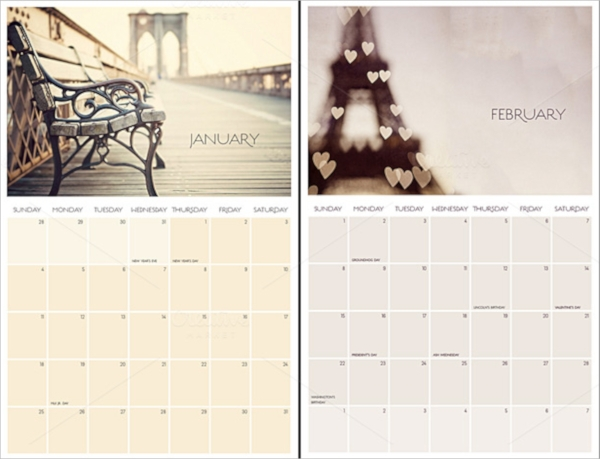 monthly photo calendar template