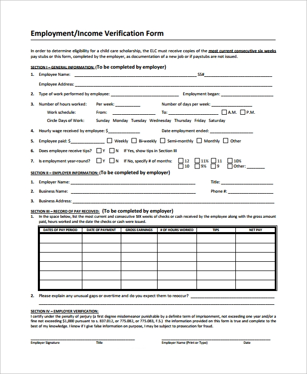 Sample Income Verification Form   Free Documents Download In Pdf