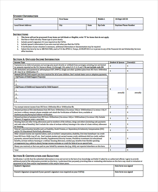 untaxed income verification form