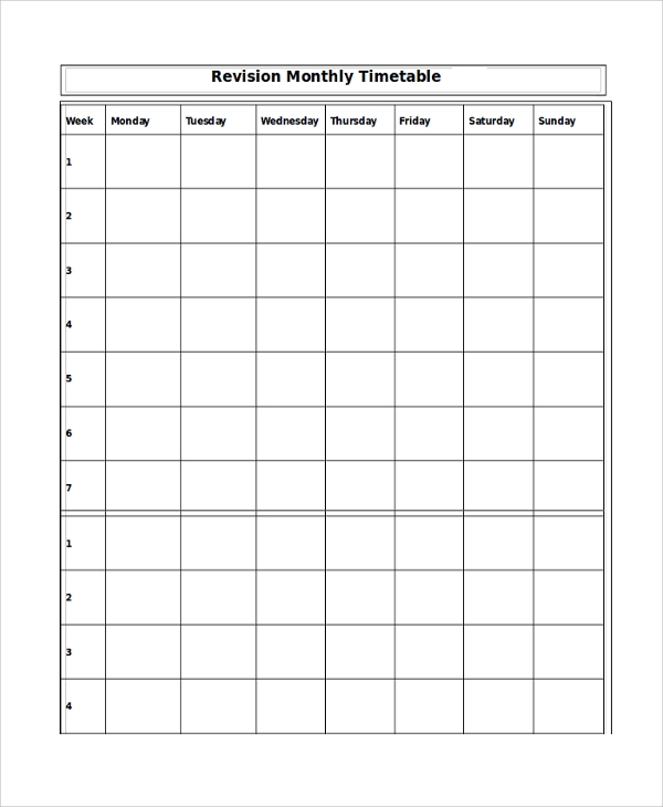 Sample Monthly Timetable Template - 9+ Free Documents Download In