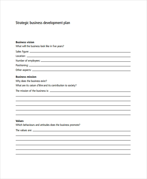 7 business development plan templates sample templates for Developing a strategic plan template