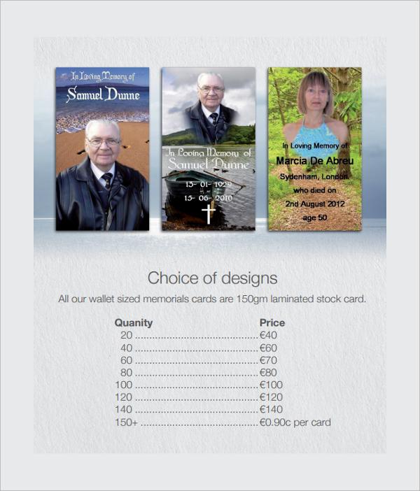 memorial card service template