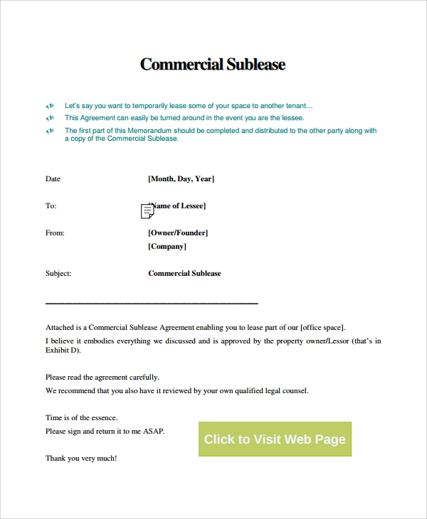 9 Commercial Sublease Agreements Sample Templates
