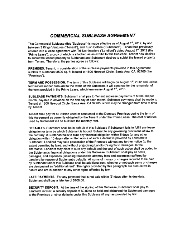 Sample Commercial Sublease Agreement   Free Documents Download