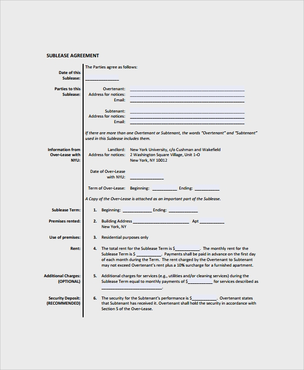 Sublease Agreement Template Forms Mercial
