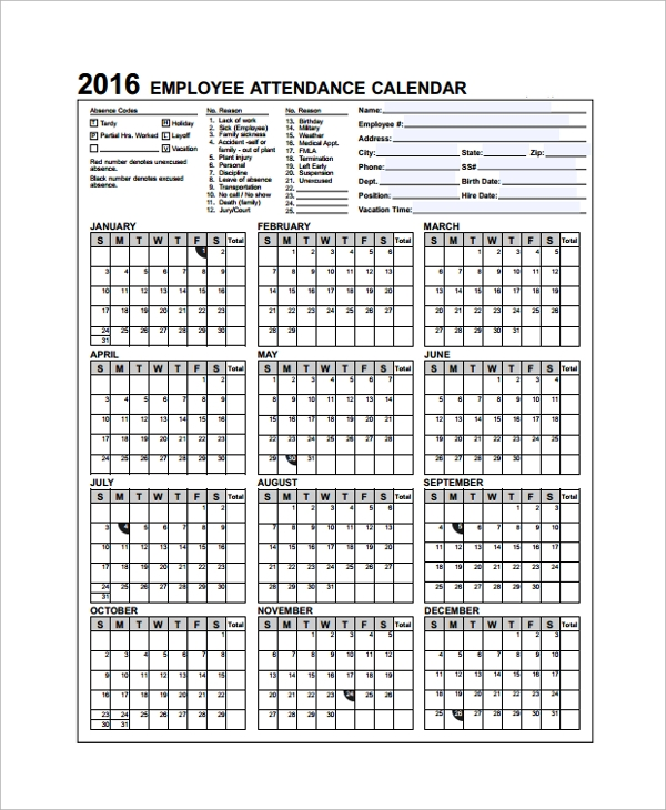 Sample Attendance Calendar Template   Free Documents Download