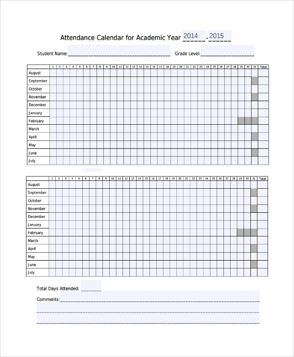 10+ Attendance Calendar Templates | Sample Templates