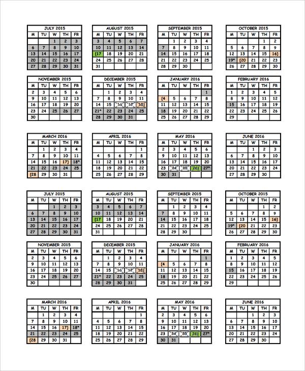 10 Attendance Calendar Templates Sample Templates