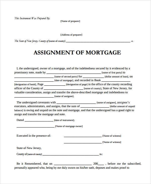 Sample Assignment Of Mortgage Template   Free Documents