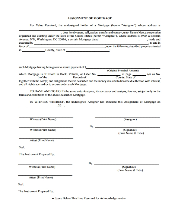 Sample Assignment Of Mortgage Template - 9+ Free Documents