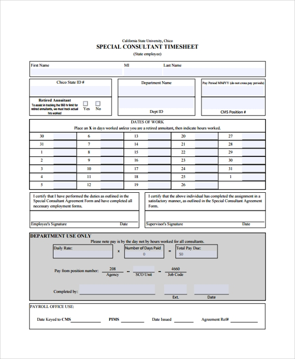 10+ Consultant Timesheet Templates | Sample Templates