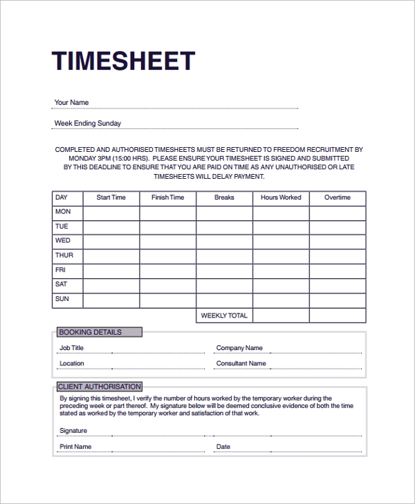 Sample Consultant Timesheet Template   Free Documents Download In