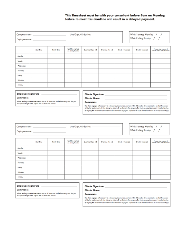 Sample Consultant Timesheet Template 9 Free Documents Download – Consultant Timesheet Template