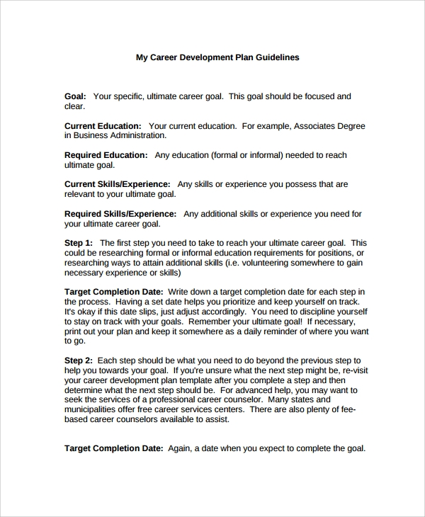 Sample Career Progression Plan Template - 6+ Free Documents ...