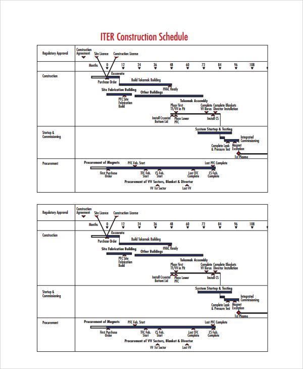 standard construction schedule