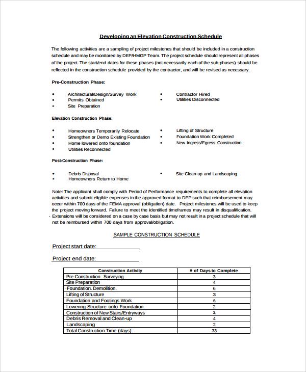 elevation construction schedule