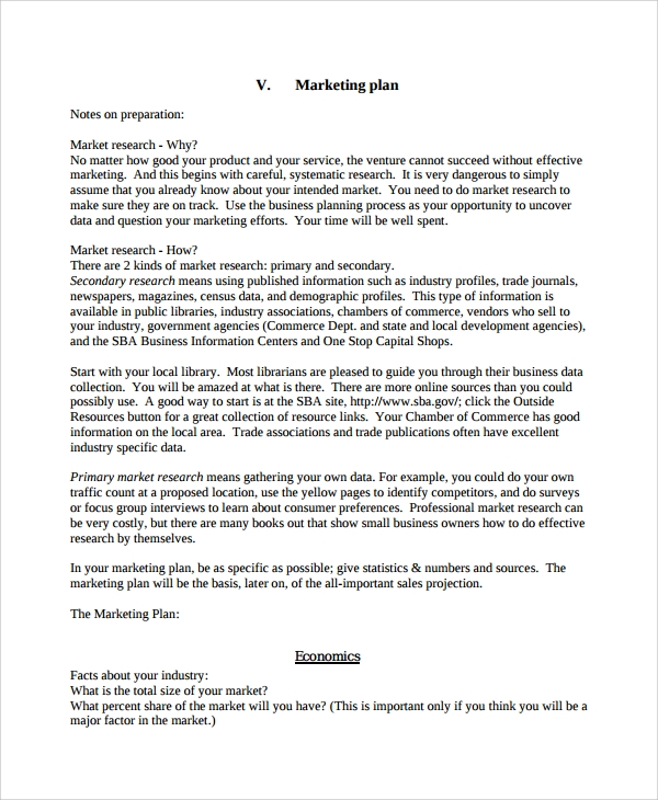 Personal Business Marketing Plan Template