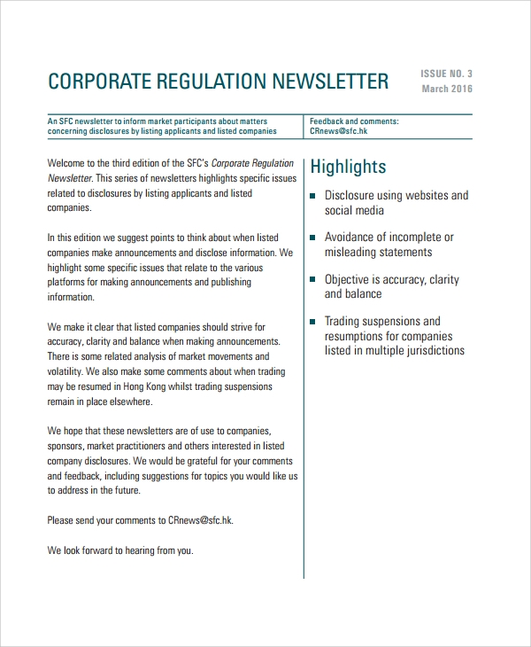 corporate regulation newsletter