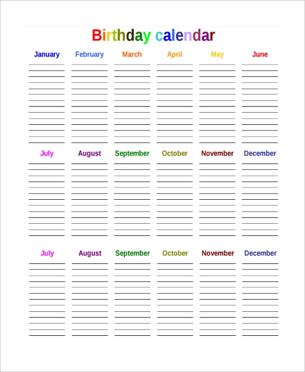 Sample birthday calendar for Countdown chart template