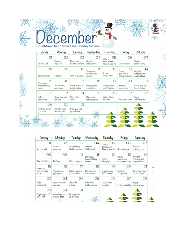 holiday countdown calendar template